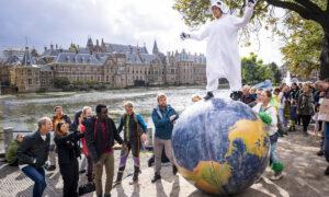 Klimaatdemonstratie bij de Hofvijver